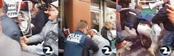 KTVU - A man attacking a fed, or a trick of the camera?