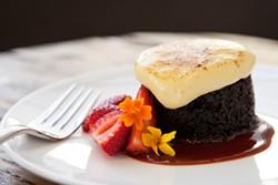 MELISSA BARNES - A moist piece of chocolate budino wearing a cap of zabaglione.