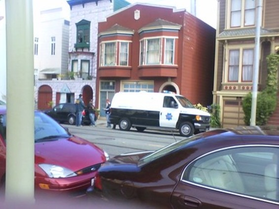 A photo snapped during the Aug. 4 SFPD raid on Dennis Peron's Castro Castle