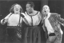 KEN  FRIEDMAN - A Queasy, Up-to-Date Portrait of Greed: Sharon Lockwood, Audrey Ann Smith, and Geoff Hoyle in The Alchemist.