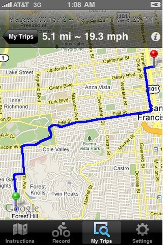 A screenshot of the Cycletracks app - ITUNES STORE