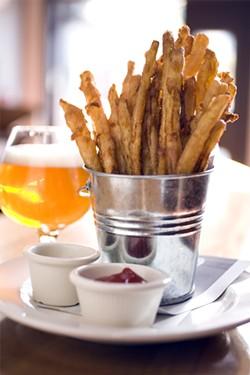 LARA HATA - A Social Kitchen success: Sweet potato tempura fries and a glass of Rapscallion.