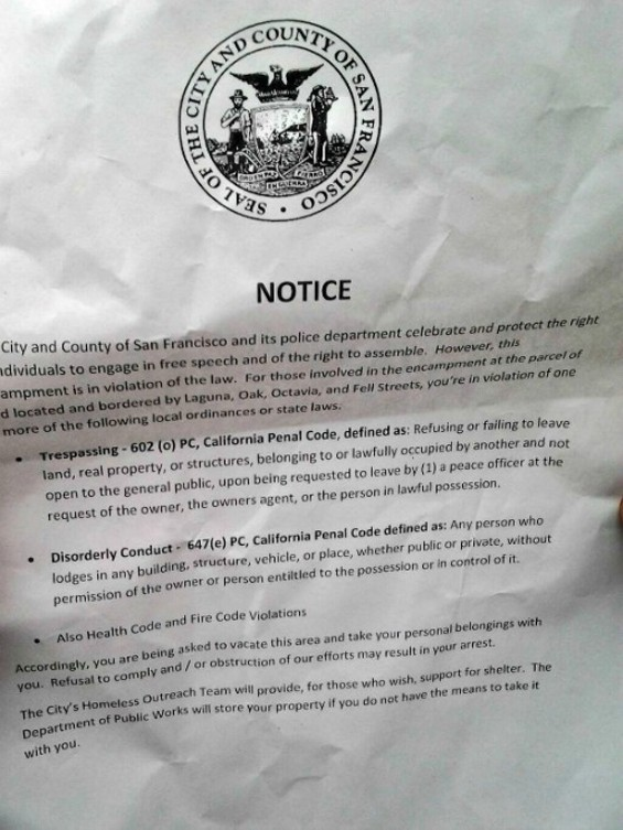 """A tweeted photograph of the eviction notice for the occupiers of """"Gezi Gardens"""" - TWITTER/@LIBERATELAND"""