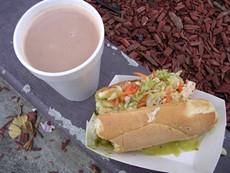 Acapulco's champurrado, $2, and torta de tamale, $3. - JOHN BIRDSALL