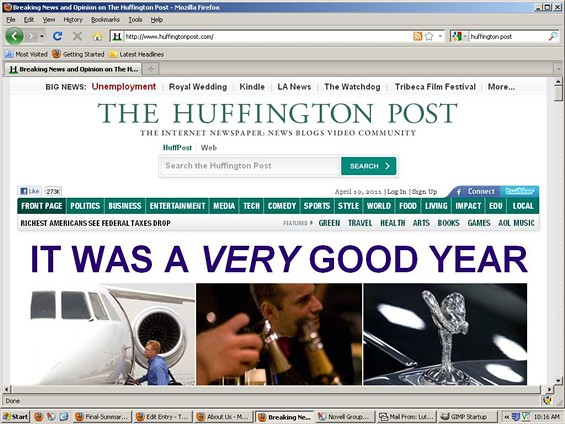 Actual Screen Capture of Huffington Post Homepage, The Same Day a Survey Showed Bay Area Newspaper Employment Down By Half
