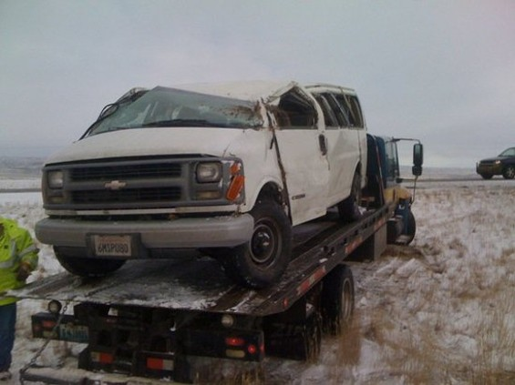 Adam Haworth Stephens' tour van, after the Wyoming crash.