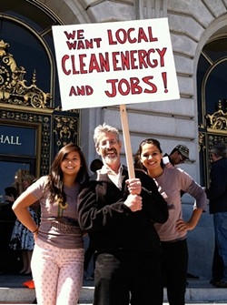 CORRINE VAN HOOK - Al Weinrub, seen here with Bay Localize interns Michelle Woo (left) and Tatiana Chaterji, likens the PUC's approach to CleanPowerSF to opening up a business and then devising a business plan.