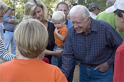 Always the politician: Carter is more popular now than when he was president.