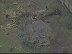 An aerial view of Gayle Falgoust's crushed tent - KGO-TV