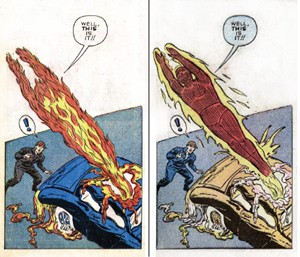 An artist's rendition of San Francico's bizarre vehicular arson case. That artist is, of course, Jack Kirby. - MARVEL COMICS
