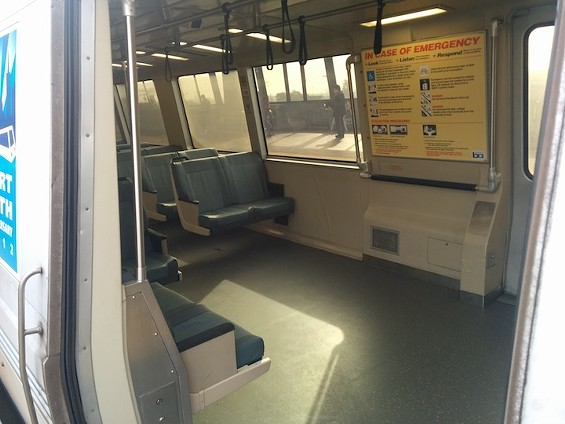 An empty Fruitvale train after passengers were kicked off. - ERIN SHERBERT