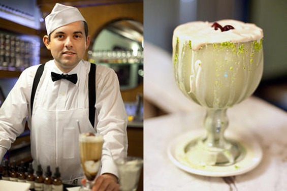 An Ice Cream Bar soda jerk, and the mammoth pistachio milkshake (that's the one on the right). - LARA HATA