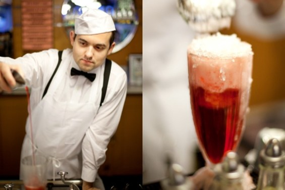 An Ice Cream Bar soda jerk measures out the ingredients for a Peche #3, seen at right. - LARA HATA
