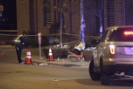 An investigator at the scene of the hit-and-run at South By Southwest this week. - CHRISTOPHER VICTORIO