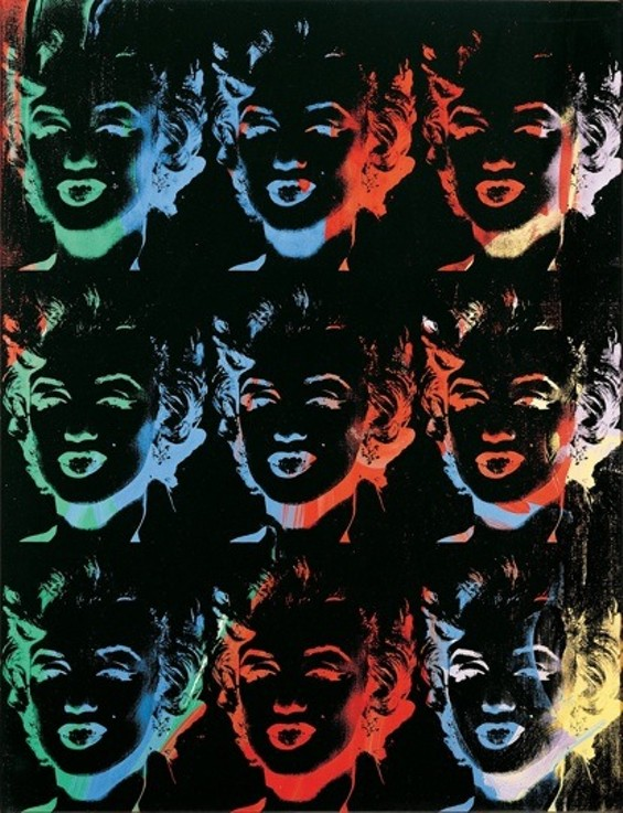 Andy Warhol, Nine Multicolored Marilyns (Reversal Series), 1976-1986