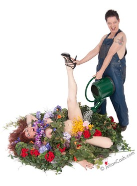 Annie Sprinkle and Beth Stephens, watering the garden of life.