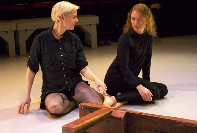 Antigone (Madeline H.D. Brown) talks with her sister, Ismene ( Hannah Donovan) - PHOTO BY CHASE RAMSEY