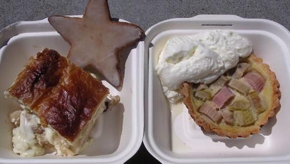 Apfelstrudel (left), cinnamon star, and rhubarb tartlet.