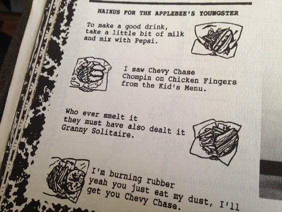 Applebee's haiku by Seth Bogart (aka Hunx). - SETH BOGART