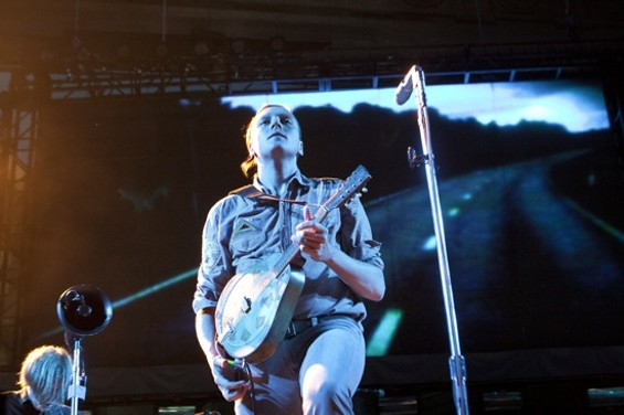 "Arcade Fire's Win Butler looking stoic during ""No Cars Go"" - CHRISTOPHER VICTORIO"