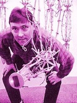 """Artist Ken Rinaldo shows off his robotic sculpture as part of Kala's """"High Touch/ High Tech."""""""