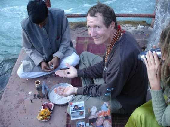 Ash at a ceremony in India to spread Dean's ashes