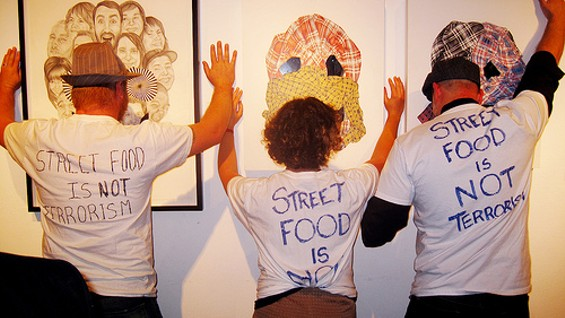 At a street-food event at 111 Minna Gallery last night, fellow vendors wore shirts expressing support for Celebi-Ariner.