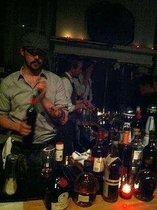 At last night's Ragtag Rabble, 15 Romolo bartender Brandon Josie. - LOU BUSTAMANTE