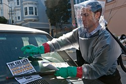 At least it wasn't a parking ticket. Jude Law hits the town in Contagion.