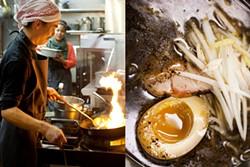 LARA HATA - At Ramen Shop, the miso is burnt for ramen with spit-roasted pork, shoyu egg, and endive.
