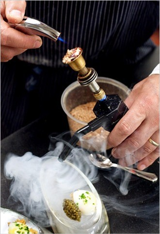 At the Ritz-Carlton, chef Ron Siegel uses a mini bong to infuse quail eggs with cedar smoke. But THC in demi-glace? - PETER DASILVA/NEW YORK TIMES