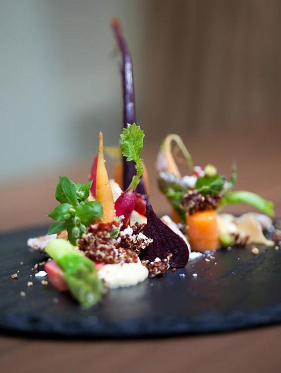Atelier Crenn's jardin d'hiver: one of its best realized dishes. - KIMBERLY SANDIE