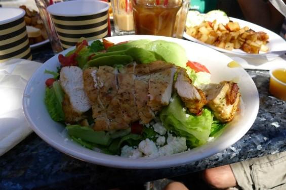 Avocado Salad: hearts of romaine, half avocado, feta, pico de gallo, sherry vinaigrette (grilled chicken breast added)