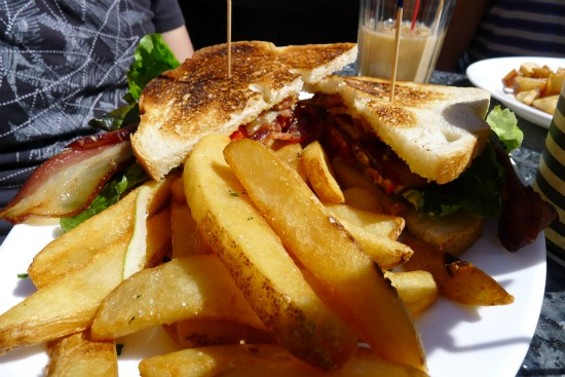 Bacon Lettuce Tomato (BLT) with Steak Fries: applewood smoked bacon, lettuce, tomatoes and aioli on toasted SF sourdough