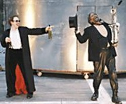 KEVIN  BERNE - Bad Influence: Prince Hal (Sean Dugan) - and his corrupter, Falstaff (Reg E. Cathey), - live it up.