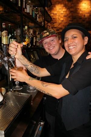 "Bar lead Christina Cabrera and ""Punchmeister"" Dillon Lockwood on tap at Novela. - RHYS ALVARADO"