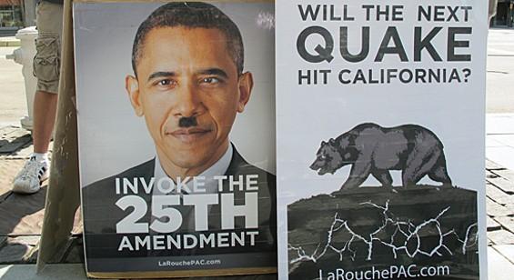 "Barack ""Hitler"" Obama will destroy California via earthquakes."