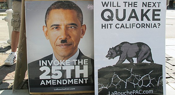 "Barack ""Hitler"" Obama will destroy California via earthquakes."