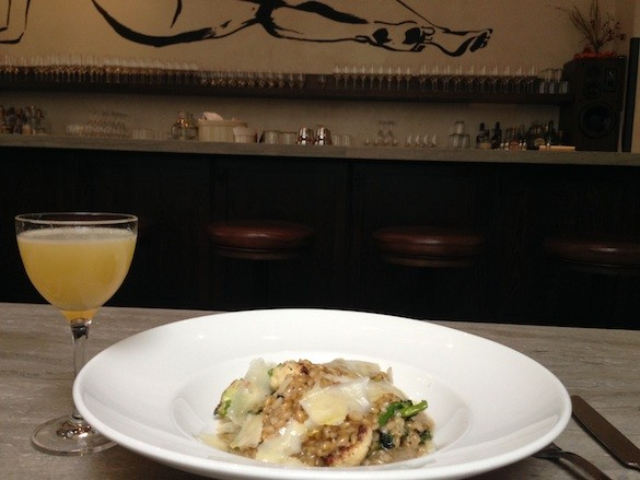 "Barley Risotto with Brassicas and Parmesan and ""The Hawaiian"" at Trou Normand. - TREVOR FELCH"