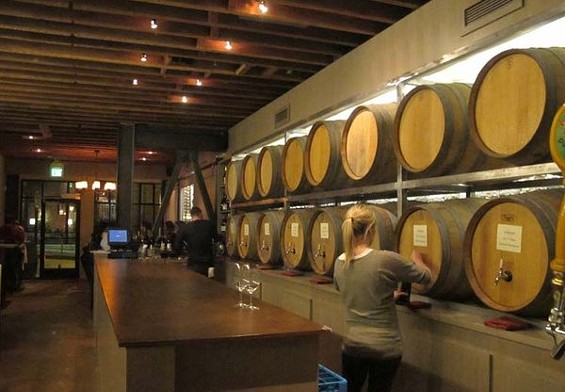 Barrique's barrels look nice, though they're props. The actual tap delivery system stores eight house wines in stainless steel tanks. - LOU BUSTAMANTE