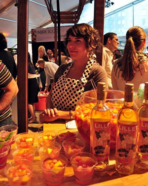 Bartender Jackie Patterson serving Lillet Punch at SF Chefs 2010 - HEATHER HUDGEON