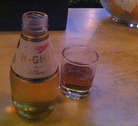 Bartender's Breakfast ($8, big shot of bourbon, little beer) - LOU BUSTAMANTE