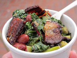 LOU BUSTAMANTE - Beans & Greens are garnished with tiles of glistening bacon at the WhipOut Truck.