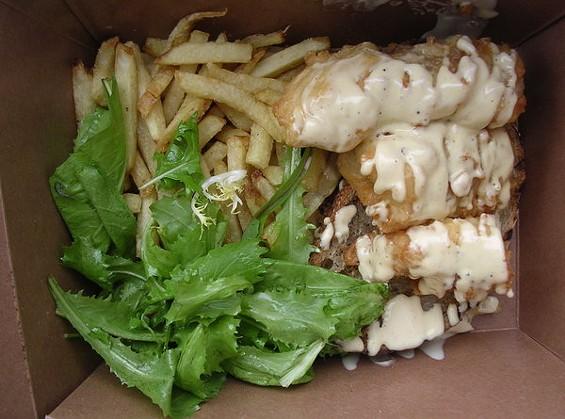 Beer-battered California rock cod, house-cut fries, and malt vinegar aioli, $9. - JOHN BIRDSALL