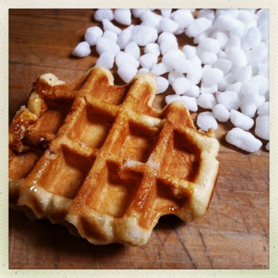 Belgian liege waffles are made with pearl sugar that caramelizes in the waffle iron. - SUITE FOODS WAFFLE SHOP
