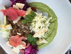 Berkeley's new Mission: Heirloom Cafe has taco salad on the menu, though with its ground beef, cabbage, pickled radishes and avocado cream, it's not your standard taco salad by any means. - ALIX WALL