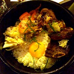 Bibimbap (namul -- or seasoned Korean vegetables, smoked egg, and beef) - PETE KANE