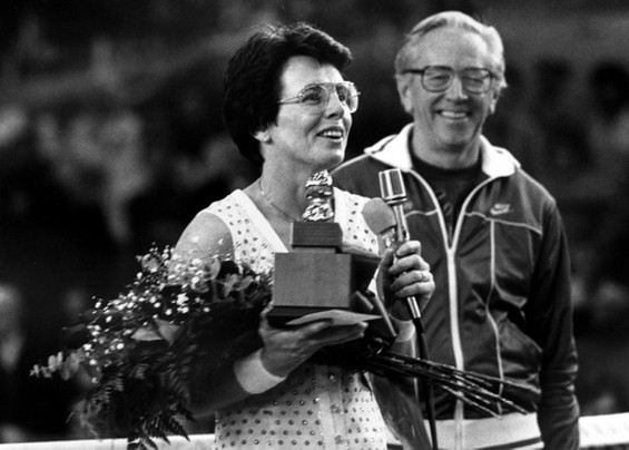 Billie Jean King and Charles M. Schulz at the Snoopy Cup Tennis Tournament in Santa Rosa in 1984 - CHERYL TRAENDLY PHOTOGRAPHY
