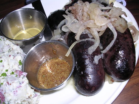 Blood sausage Berlin-style with stewed apples and onions, $13. - JOHN BIRDSALL