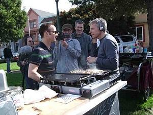 Boitano filming an episode of his Food Network series at Precita Park. - T. PALMER